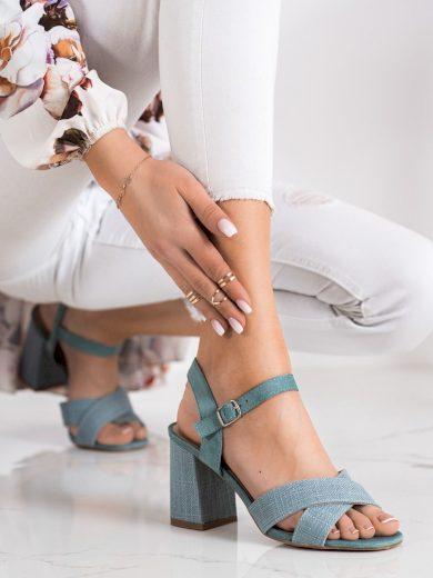 Designové zelené  sandály dámské na širokém podpatku