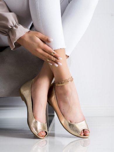 Exkluzívní zlaté dámské  lodičky bez podpatku
