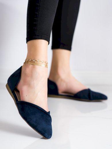 Moderní modré  baleríny dámské bez podpatku