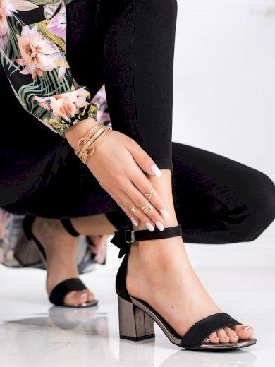 Exkluzívní černé dámské  sandály na širokém podpatku