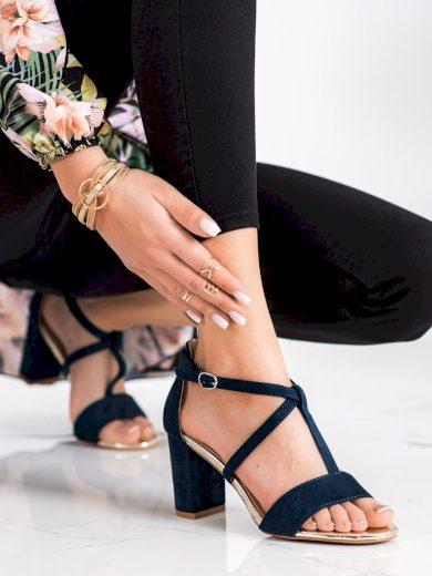 Zajímavé dámské  sandály modré na širokém podpatku
