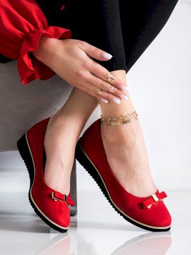 Stylové  polobotky červené dámské bez podpatku