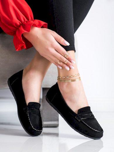 Trendy černé  mokasíny dámské bez podpatku