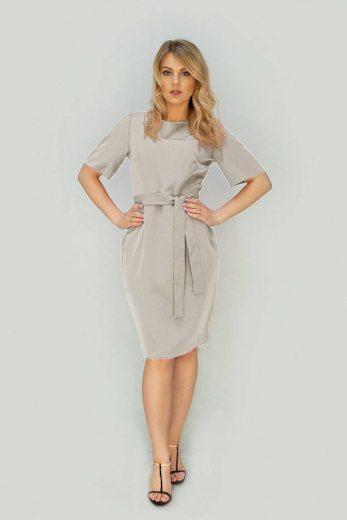 Béžové tužkové šaty s páskem (313ART)