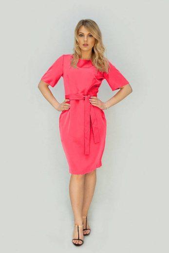 Tužkové šaty v neonově korálové barvě s páskem (313ART)
