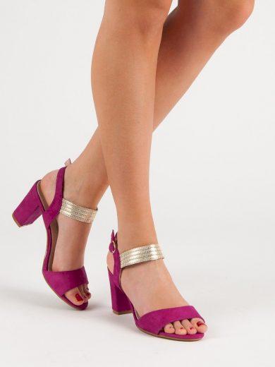 Praktické dámské  sandály růžové na širokém podpatku