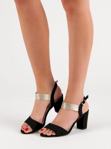 Praktické  sandály dámské černé na širokém podpatku