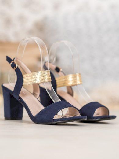 Módní modré dámské  sandály na širokém podpatku