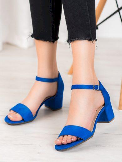 Originální modré  sandály dámské na širokém podpatku