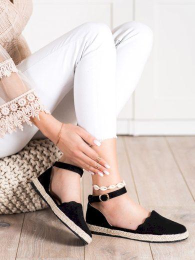 Luxusní dámské  polobotky černé bez podpatku