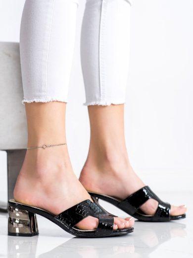 Moderní černé  nazouváky dámské na širokém podpatku