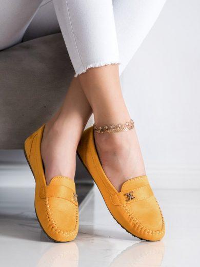 Klasické zlaté  mokasíny dámské bez podpatku
