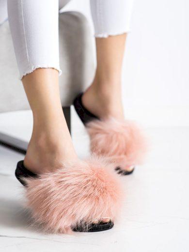 Krásné  nazouváky růžové dámské bez podpatku