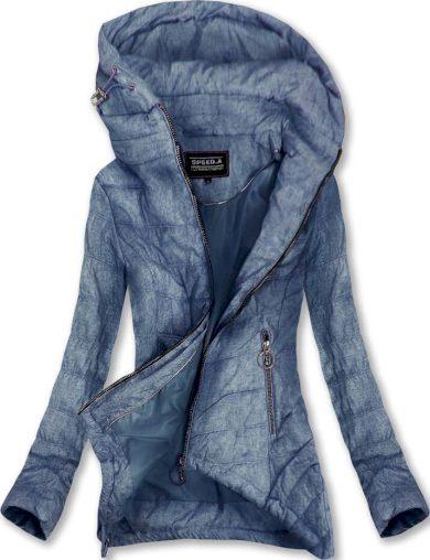 Tmavě modrá prošívaná bunda s kapucí (W714)