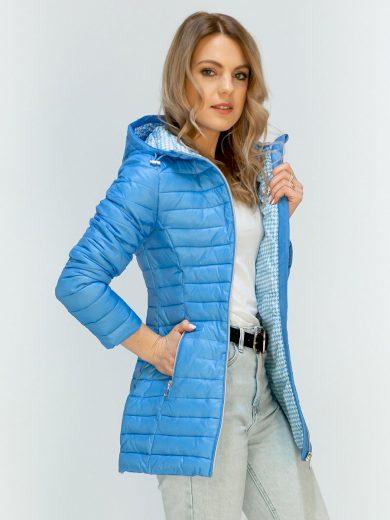 Světle modrá prošívaná bunda s kapucí (MH-1679)