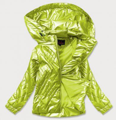 Lesklá dámská bunda v limetkové barvě (2021-02)