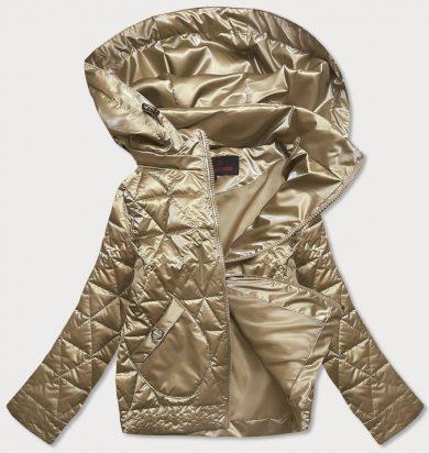 Zlatá metalická dámská bunda s kapucí (2021-01)