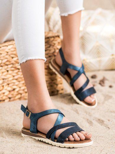 Luxusní  sandály dámské modré bez podpatku