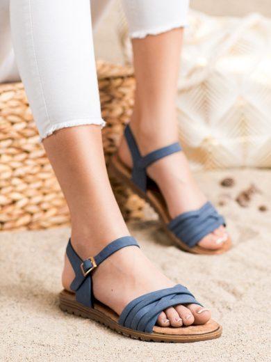 Módní modré dámské  sandály bez podpatku