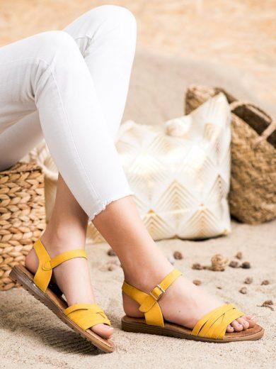 Výborné  sandály zlaté dámské bez podpatku