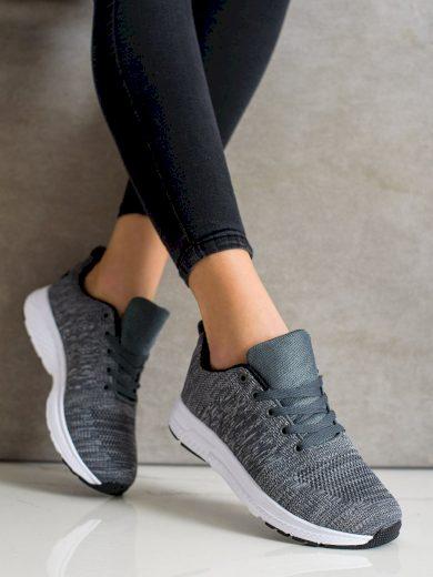 Výborné  tenisky dámské šedo-stříbrné bez podpatku