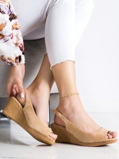 Originální  sandály dámské hnědé na klínku