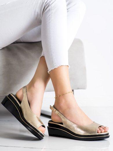 Exkluzívní dámské  sandály zlaté na klínku