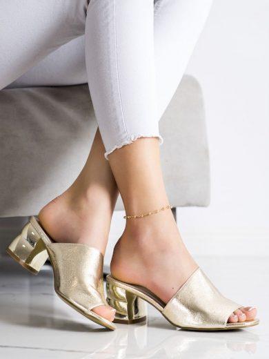 Trendy  nazouváky dámské zlaté na širokém podpatku