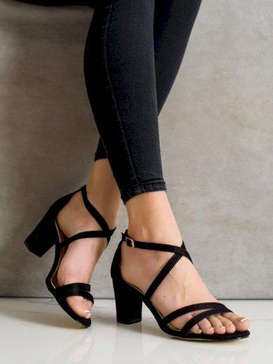 Trendy  sandály dámské černé na širokém podpatku
