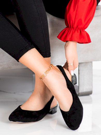 Designové černé dámské  lodičky na širokém podpatku