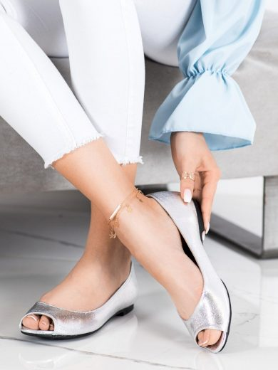 Moderní šedo-stříbrné  lodičky dámské bez podpatku