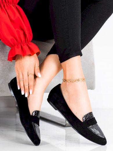 Designové  mokasíny dámské černé bez podpatku