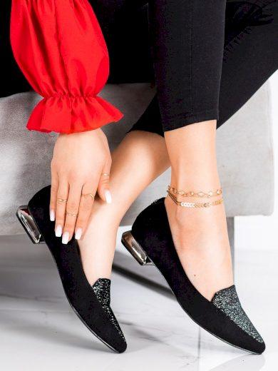 Stylové dámské černé  lodičky na plochém podpatku
