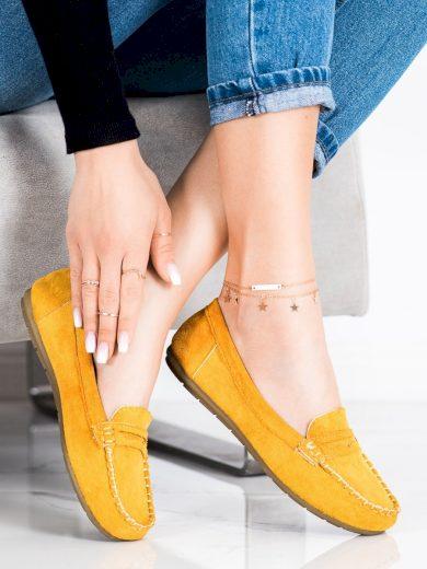 Originální dámské  mokasíny zlaté bez podpatku