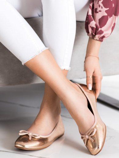 Luxusní zlaté dámské  baleríny bez podpatku