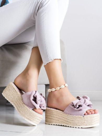 Zajímavé dámské fialové  nazouváky bez podpatku