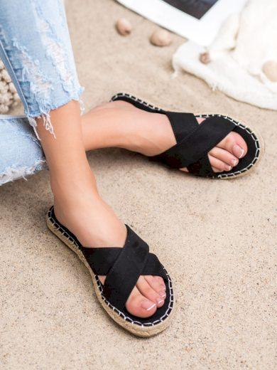 Designové dámské  nazouváky černé bez podpatku