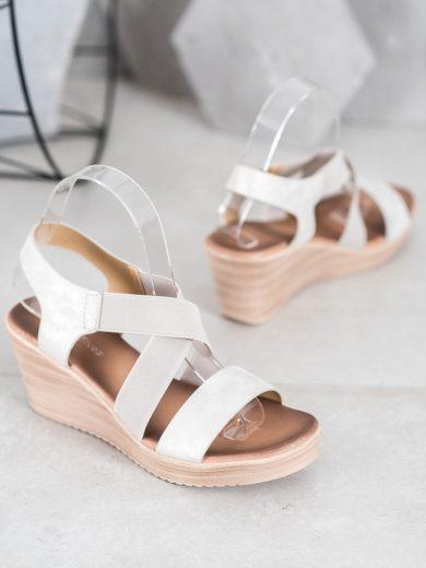Módní šedo-stříbrné dámské  sandály na klínku