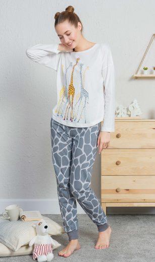 Dámské pyžamo dlouhé Žirafy - Vienetta