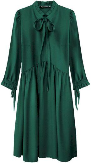 Dámské šaty v lahvově zelené barvě s volánkovým stojáčkem (208ART)