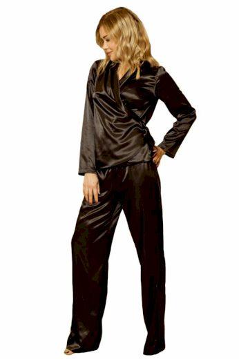 Saténové pyžamo Rawa černé