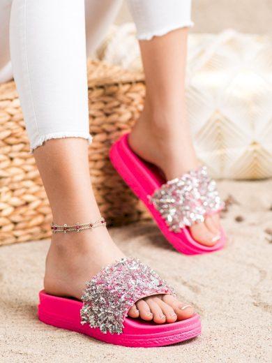 Zajímavé růžové dámské  nazouváky bez podpatku