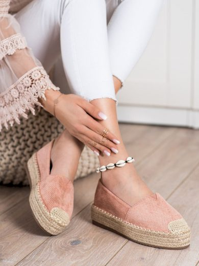 Módní růžové  polobotky dámské bez podpatku