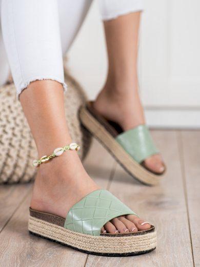 Komfortní  nazouváky dámské zelené bez podpatku