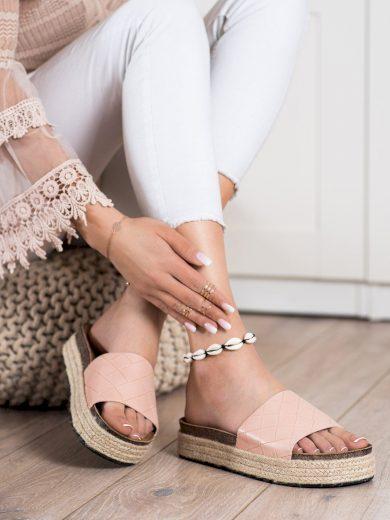 Trendy dámské růžové  nazouváky bez podpatku