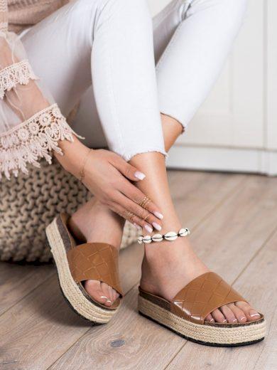 Trendy  nazouváky hnědé dámské bez podpatku