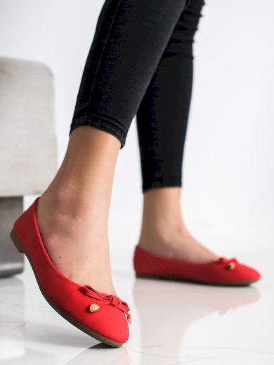 Praktické  baleríny dámské červené bez podpatku