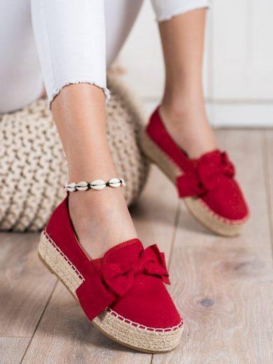 Jedinečné červené  polobotky dámské bez podpatku