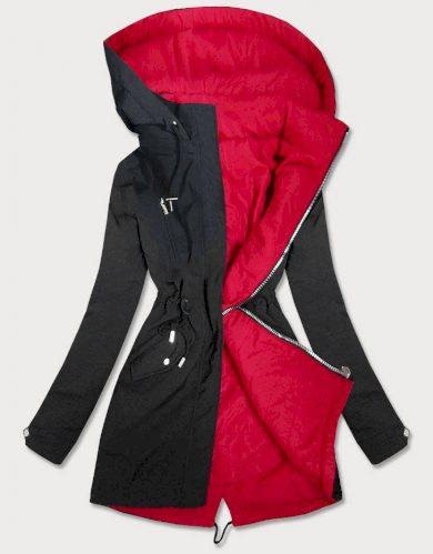 Černo-červená oboustranná dámská bunda parka s kapucí (W354BIG)