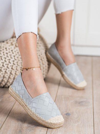 Trendy dámské  polobotky šedo-stříbrné bez podpatku